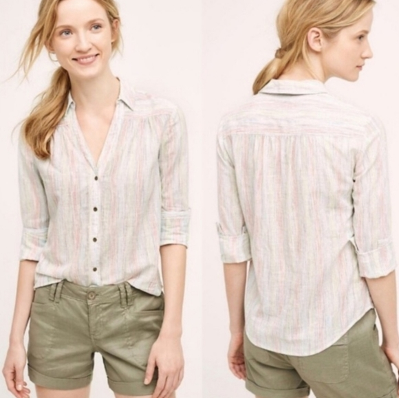 Anthropologie Tops - Holding Horses 4 Danova Colored Button Down Shirt